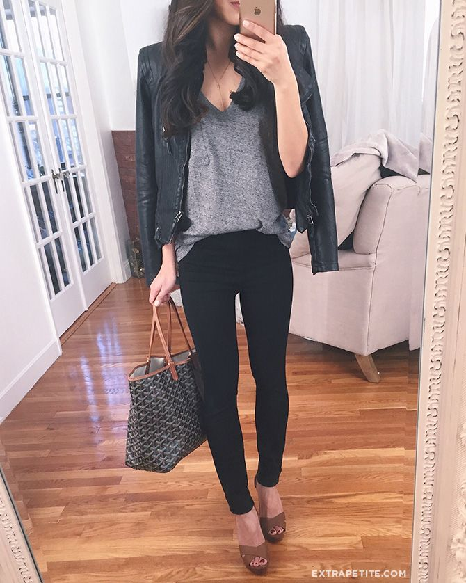 moto (faux) leather jacket + black jeans + tee shirt = classic casual outfit,  cute for date night or drinks with friends