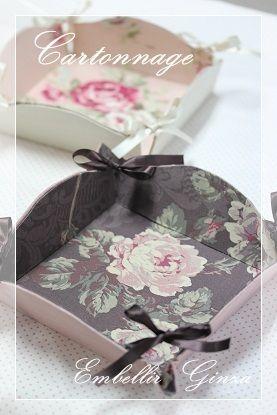 Sweet idea - small tray made from cardboard and pretty fabrics.