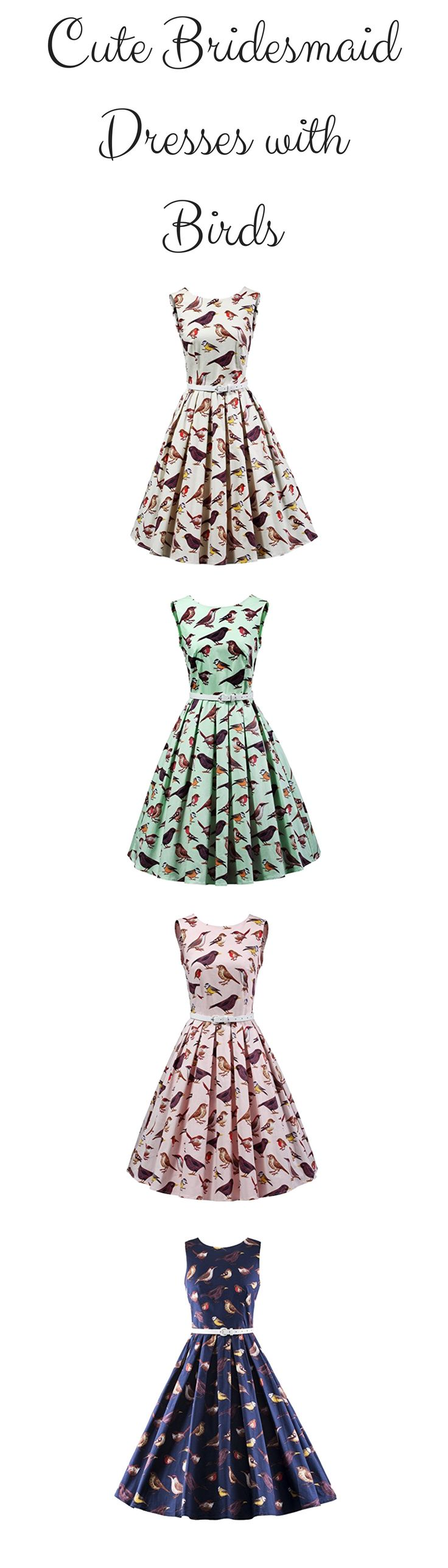 Cute bridesmaid dresses with birds in a 50s retro vintage style tea dress - Women's Vintage 1950s Sleeveless Dress with Boat Neck Inspired Rockabilly Swing Dress - https://www.amazon.com/dp/B06XDMVK8B/ref=as_li_ss_tl?th=1&linkCode=ll1&tag=theweddingclu-20&linkId=3c3594e7846f54c8ca9074cfa2b59f8d