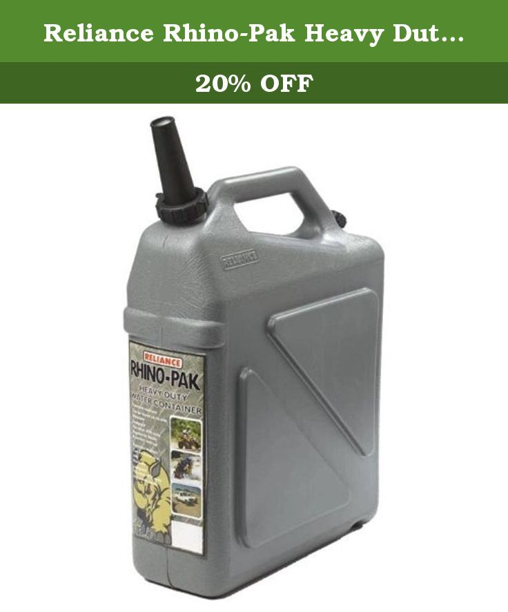 Reliance Rhino-Pak Heavy Duty Water Container (Grey, Medium). This is HEAVY DUTY. The Rhino-Pak water container designed with extreme in mind. The super thick plastic water make it the most puncture resistant 5.5 gallon (20L) water container out there. The premium spigot and vent cap make it leak-proof.