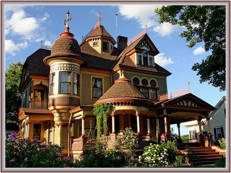 What a wonderful Victorian house, with all the whimsy and fantastic detail one can muster!  Gazebo porch, round tower, proliferation of windows, fishscale roofing, and the marvelous, marvelous paint job!  Tunkhannock Storybook Mansion in PA.