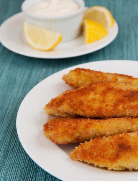 Crispy Tilapia Fingers with Lemon & Garlic Mayo via Once Upon a Chef.  2 lbs. tilapia,1c. flour, 3 eggs, 2 c. panko, salt/pepper, olive oil, lemon, 1 c. mayo, garlic