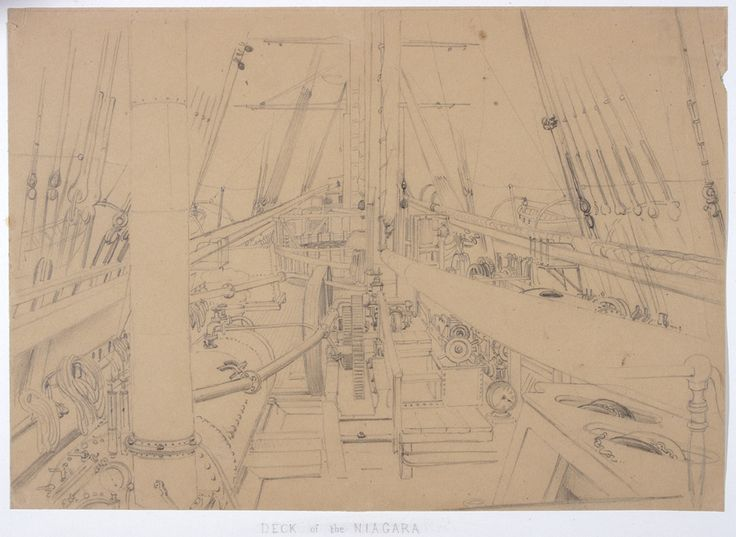 Deck of HMS 'Niagara' cable laying ship, 1858, from a series of sketches by E W Cooke. IET Archives ref. SC MSS 023.