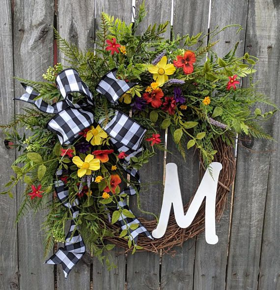 Door Wreath Large Spring Grapevine Wildflower Wreath Monogram Spring Front Door Wreath Wreath For Spring Summer Letter Wreath Wildflower Wreath Spring Front Door Wreaths Spring Wreath
