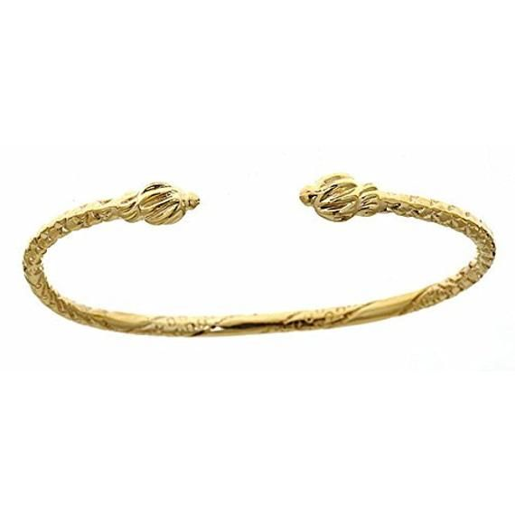 10k Yellow Gold Baby West Indian Bangle W Coiled Ends Gold Bracelet Indian Bangles Indian Jewelry
