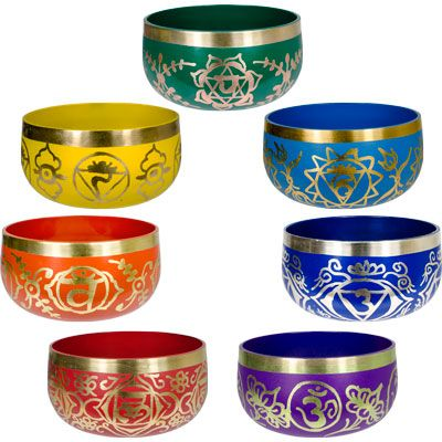 Shame the websites says these aren't tuned to specific notes.  Magickal Ritual Sacred Tools:  Tibetan Chakra Bowls Set.
