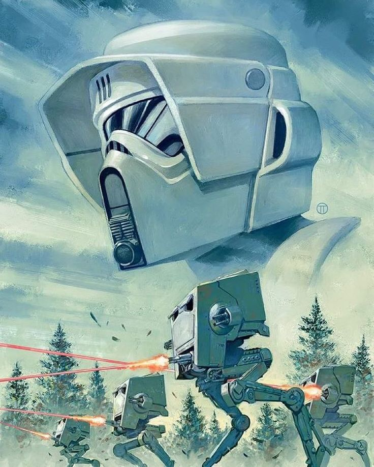 """Bring the Pain Scout Trooper & AT-ST  Artist: Julian Totino Tedesco…"