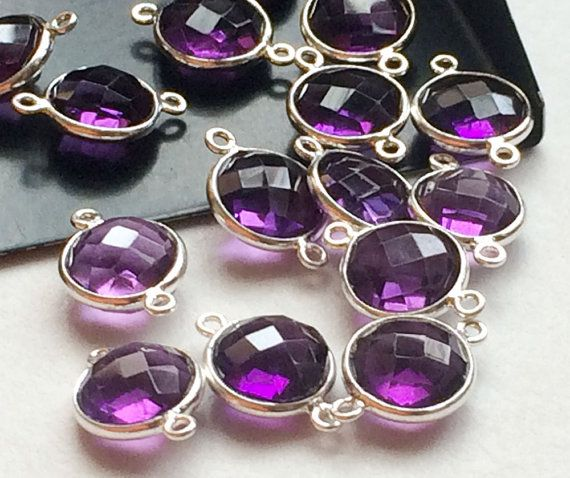 5 Pcs Hydro Amethyst Color Connectors Purple by gemsforjewels