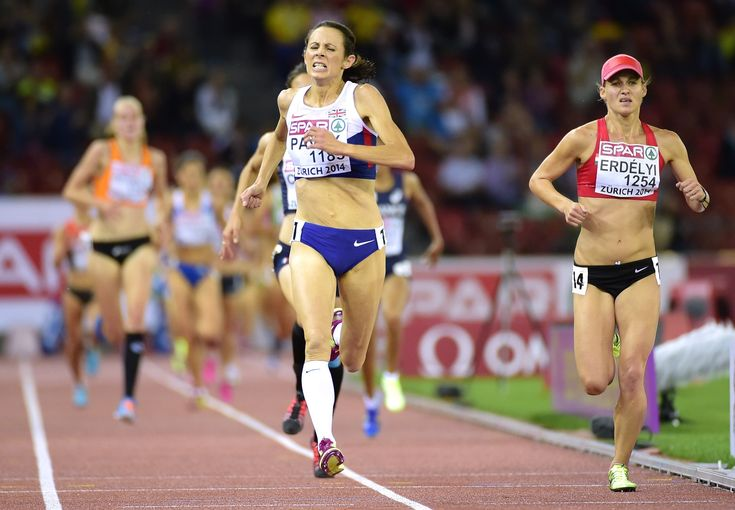 Great Britain's Jo Pavey (center) wins the Women's 10,000m final during the European Athletics Championships at the Letzigrund stadium in Zurich on Aug. 12, 2014 - Oldest Woman To Win Gold At European Championships