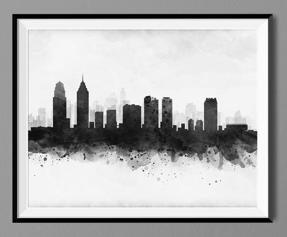 Philadelphia Skyline Watercolor Art Print Poster Skyline, Philadelphia Cityscape Wall Art Print - Black Design