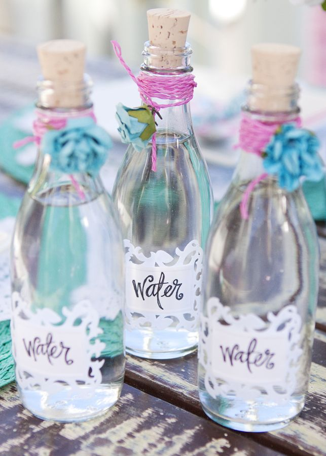 SO girly, love this idea for serving water instead of water bottles. Perfect for a bridal shower, Lovely colors
