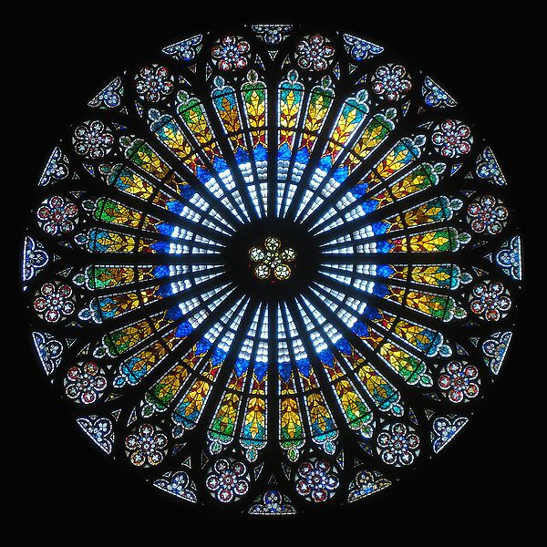 stained glass mandala at Strasbourg Cathedral