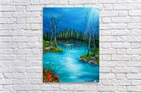 Acrylic print, for sale, forest, river, water, nature, nightscape, aqua, blue, turquoise, fine art, painting, decorative, ideas, products, items, pictorem