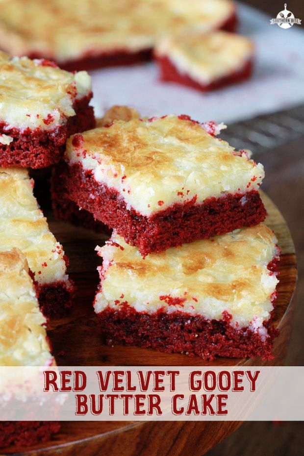 This recipe for Ooey Gooey Butter Cake is great with a yellow cake mix, even lemon, but this red velvet version is one of my favorites.