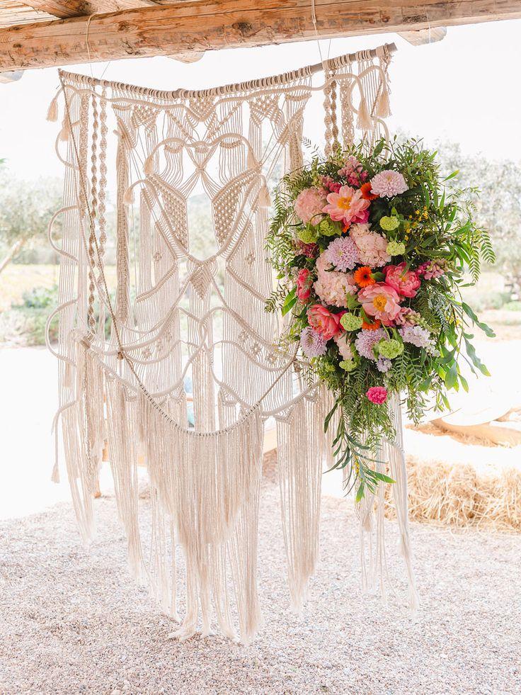 macrame floral backdrop