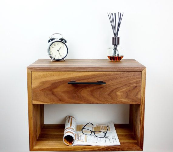Floating Nightstand / Nightstand with Drawer / Nightstand Modern / Modern Bedside Table / Mid Century Night Stand / Wall Mounted Nightstand