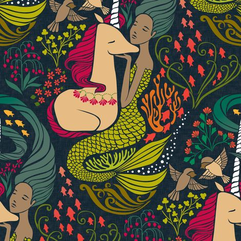 The Mermaid and the Unicorn - Mamara fabric by ceciliamok on Spoonflower - custom fabric