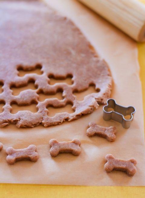 Homemade dog treats with a mini bone cookie cutter