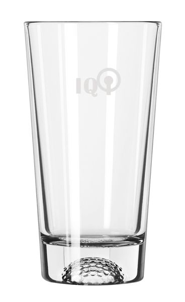 "Golf Mixer Glass, 16 oz./473 mL. Size: 6.25"" h x 10.5"" c. The pattern is on the inside of the glass so as not to interfere with the imprint. Protective packaging included."
