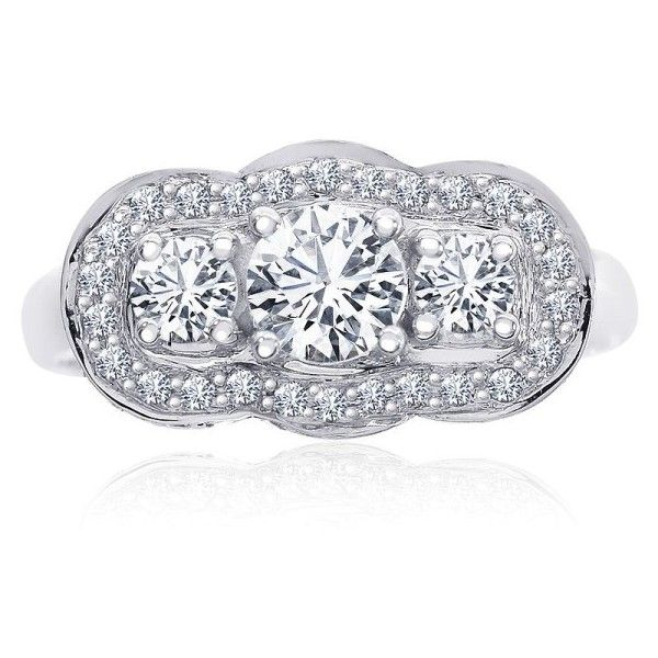 Pre-owned 14K White Gold 1.16ct Diamond Engagement Ring Size 7 ($1,599) ❤ liked on Polyvore featuring jewelry, rings, pre owned diamond rings, 14k ring, round cut engagement rings, white gold engagement rings and round diamond ring