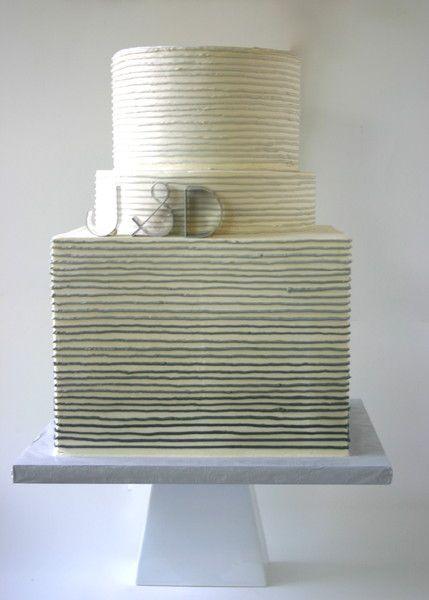 Hip Modern Gray Ivory Buttercream Monogrammed Multi-shape Wedding Cake Wedding Cakes Photos & Pictures - WeddingWire.com