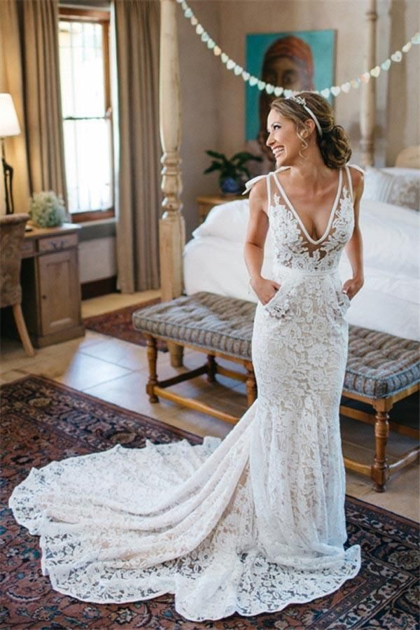 a95969c1c9 Charming V-Neck Sleeveless Mermaid Backless Lace Pocket Wedding Dress With  Court Train OK598