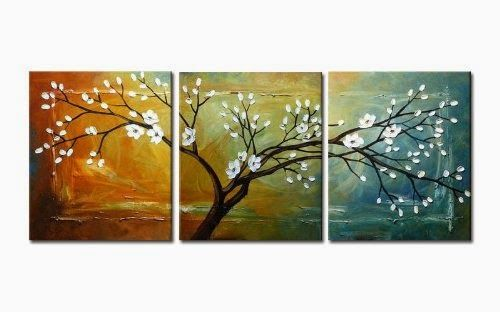 """Wieco Art """"Full Blossom"""" Hand-Painted Modern Framed Floral Oil Paintings on Canvas Wall Art - Store Online for Your Live and Style"""