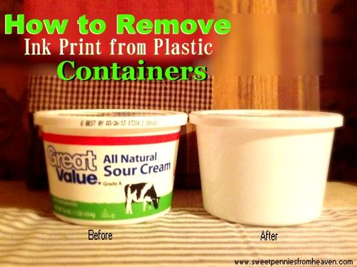 How to remove ink print from plastic containers so you can reuse them!