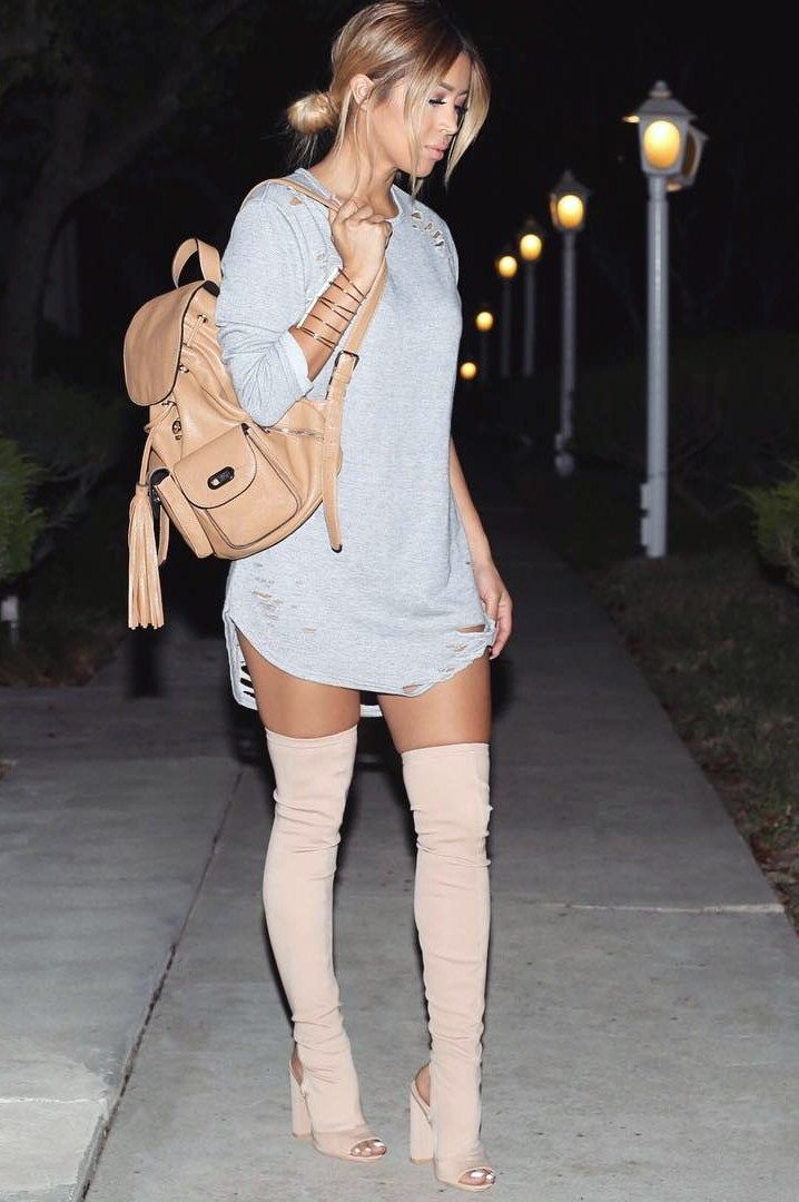 "ecstasymodels: "" Thigh High Boots Dress & Handcuff @fashionnova(Discount code  XOJOHANNA) , Heel Boots @lolashoetiquedolls (Discount code  JOHANNA), Backpack @forever21 Fashion Look by jmaybelline_ """