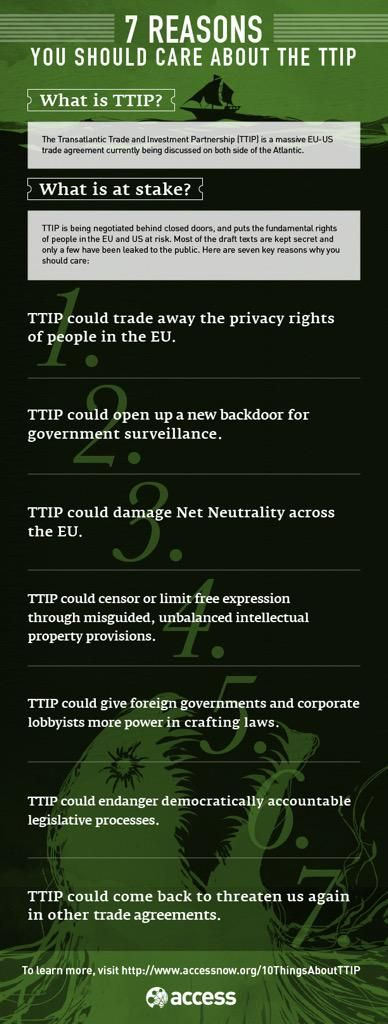 Why you should care about the Transatlantic Trade and Investment Partnership https://www.accessnow.org/blog/2015/06/28/why-you-should-care-about-the-transatlantic-trade-and-investment-partnershi … #TTIP #TTIPAlarm
