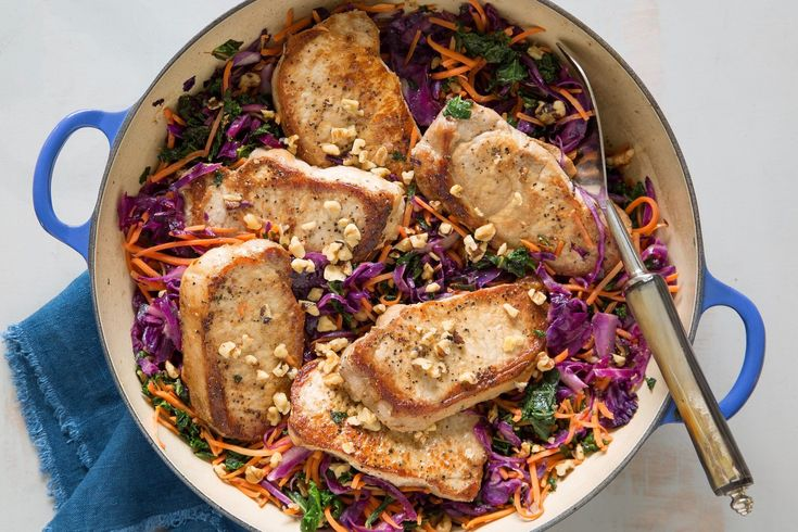 Seared Pork Chops with Wilted Slaw