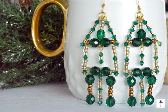 Emerald Green with gold Handmade Swarovski Chandelier by BYTWINS
