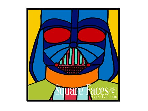 Square Face Darth Vader Canvas by MarciLand5 on Etsy