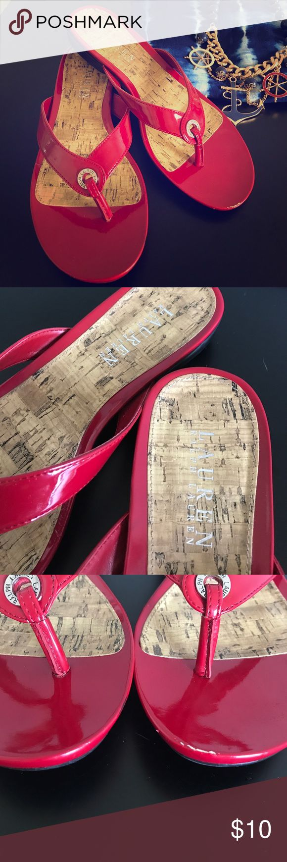 Ruby Red Flip Flops Very well made & perfect for summer & 4th of July. Size tag says 9, but they would fit an 8-8 1/2 best, so listing them as such. Cork footbed, non-slip black rubber soul. These are in good condition w/ tons of life left, but they do have a couple of minor flaws & priced accordingly. Please see all pictures. I only wore these a handful of times & wouldn't sell if they fit my true to size 9 foot because they are very comfortable. Lauren Ralph Lauren Shoes Sandals