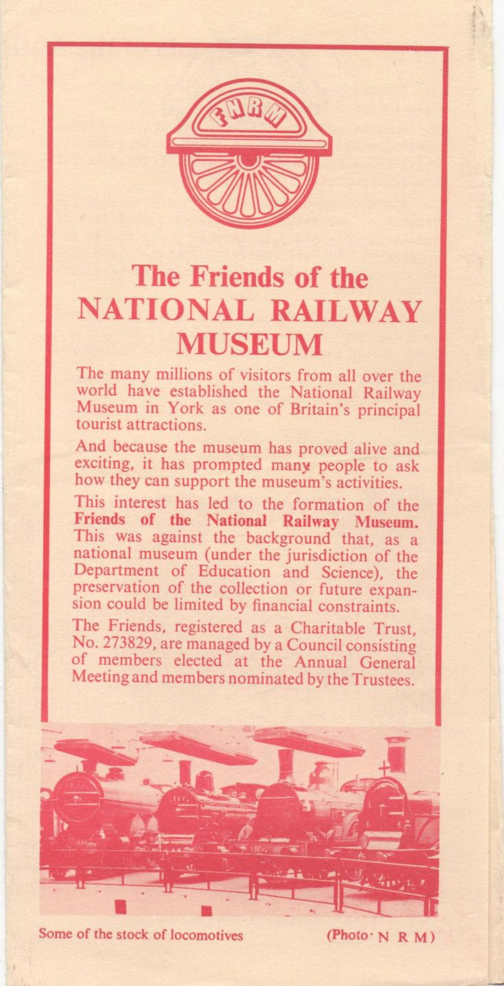 1985 brochure Friends of the National Railway Museum, York, England, illustrated, good shape by VintageNEJunk on Etsy