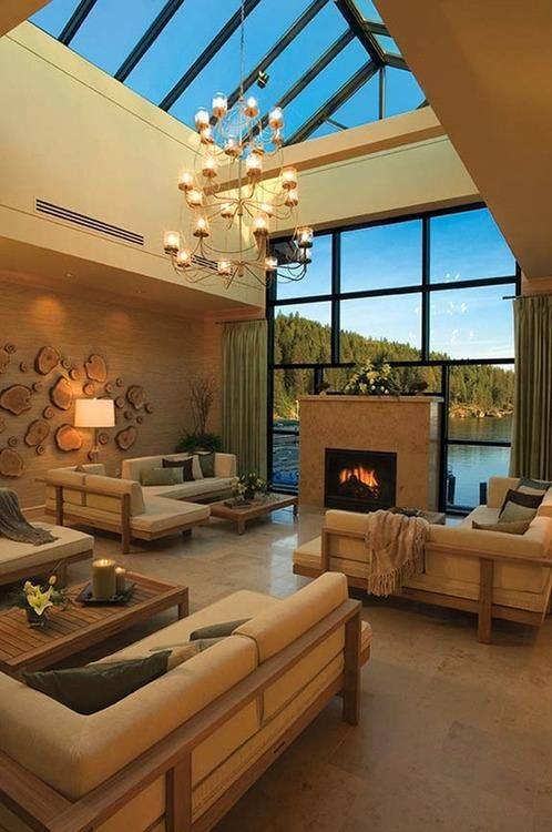 love the windows and roaring fireplace!