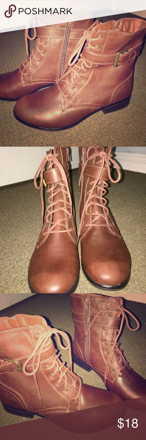 Women's Brown Combat Boots Brown lace-up combat boots for women. Ankle height. NEVER WORN. Size: 8. Shoes Combat & Moto Boots