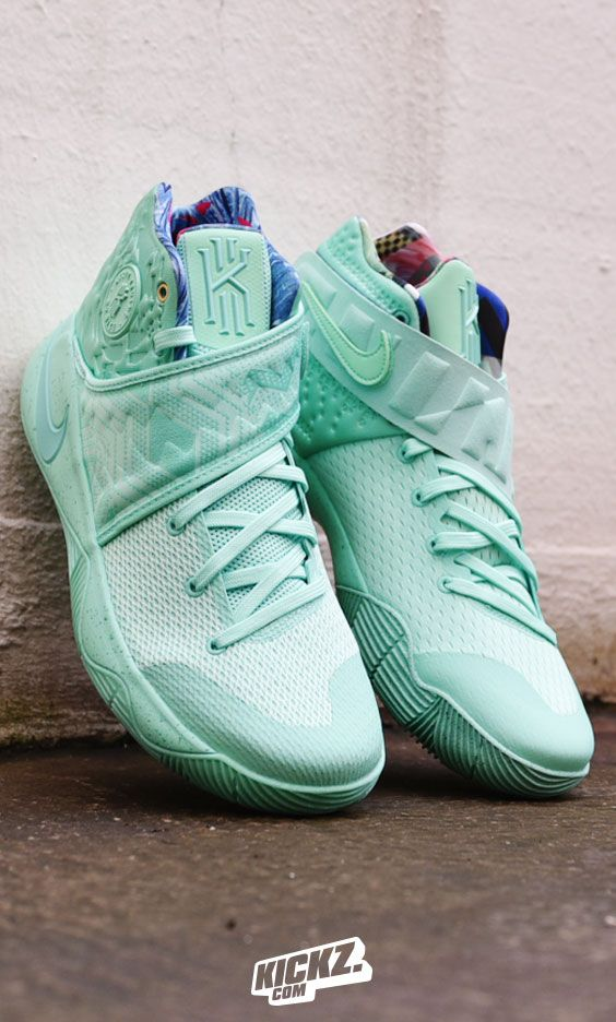 "What the...?! Looks like the ""What the"" theme and the Christmas colorway combine this year on the Nike Kyrie 2 for this minty fresh colorway."