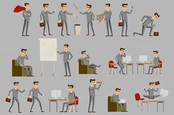 Set of business people vector art by Rommeo79 on @creativemarket