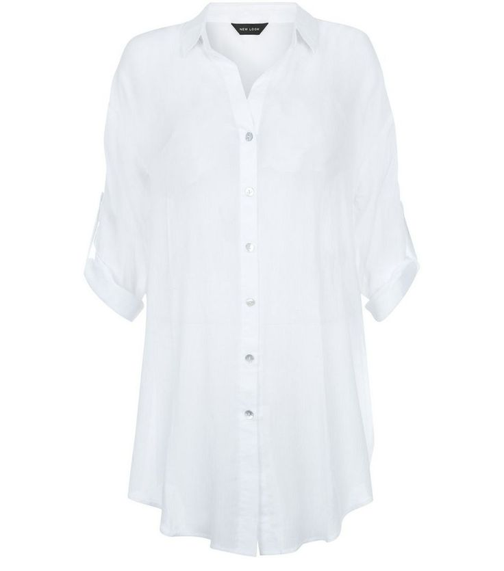 White Sheer Longline Beach Shirt | New Look