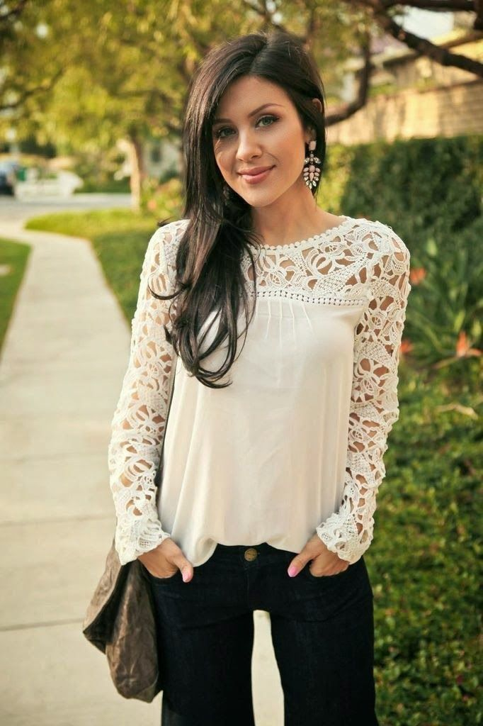 Fabulous crochet detail top with casual jeans and cute khaki leather hand bag the best street fashion inspiration & cute looks