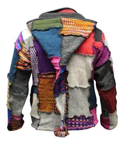 Mens-Tye-Dye-Patchwork-Hippie-Jacket-Fleece-Lined-Festival-Boho-Hippy-Sweater
