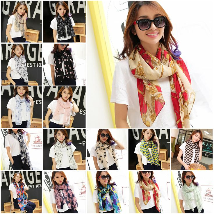 New Arrival Brand designer Bohemian style Plaid pattern Skull Bow Chiffon Scarf Gradual colors Accessories for women PD25