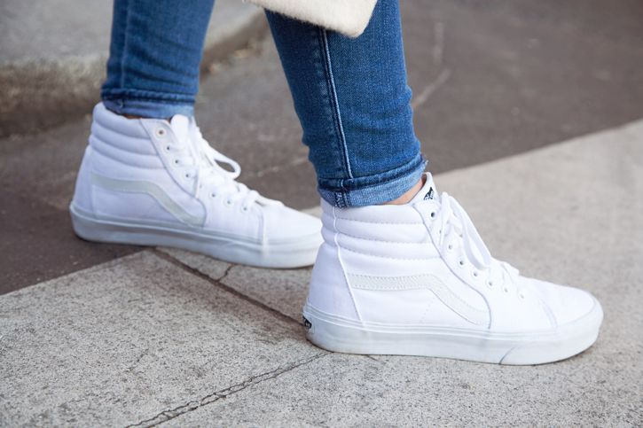 Vans White Sk8-Hi Sneakers / pair with skinny jeans, dresses, skirts, shorts
