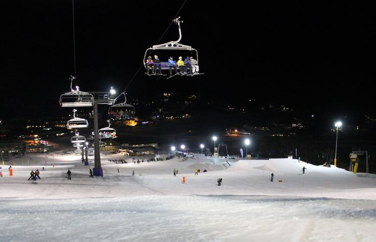 Night skiing at Perisher snow ski resort in New South Wales, Australia #snowaus
