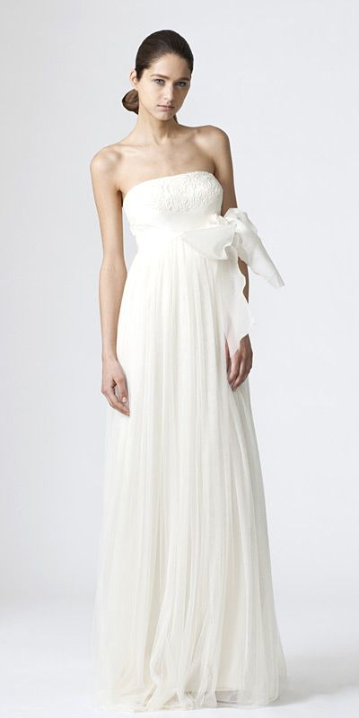DYLAN    Strapless full babydoll sheath with lace bodice and criss cross bow detail: Vera Wang, Verawang, Wedding Dressses, Bridal Collection, Wedding Dresses, Wedding Ideas, Weddings, Bridal Gowns, Dylan O'Brien