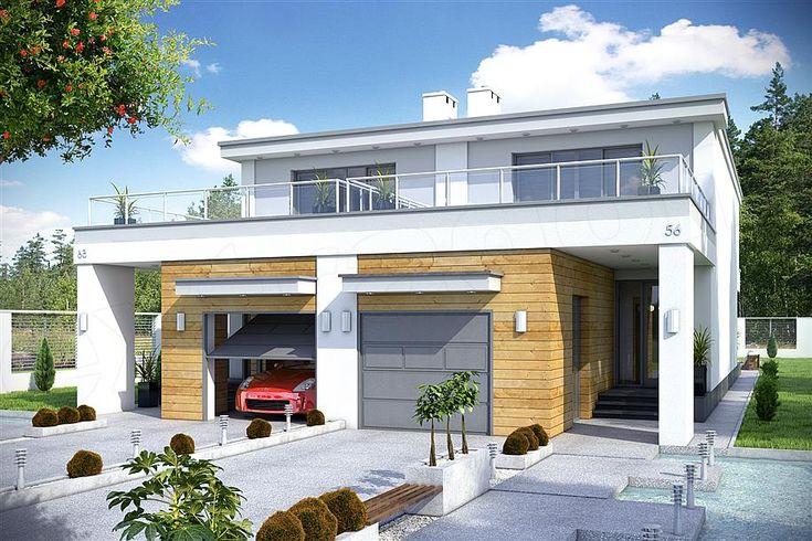 projekt Long z garażem 1-st. bliźniak [A-BL1] WRF1486