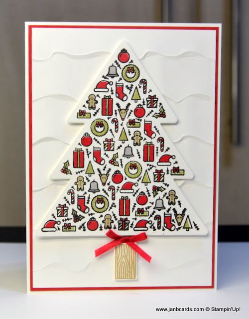 I used the Stampin' Up! Stamp Set called Iconic Christmas. I also made a video showing how to get the most out of this stamp set, and how to line everything up. See https://youtu.be/xUVU0lqwoTg and www.janbcards.com Note: I photographed this card before I added the sentiment to it!