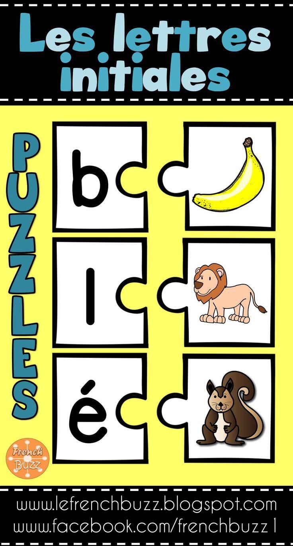 Lettres initiales - 74 puzzles. Voici un jeu de casse-têtes pour associer les images à leurs sons initiaux. Bon jeu pour les centres de littératie.