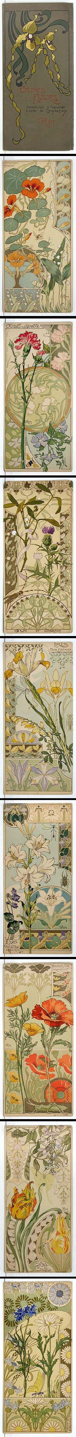 """""""Etudes de Fleurs"""" - Riom; 1890s. Extremely rare and beautiful French Art Nouveau set of 8 floral color lithographs by Riom, in their original pictorial cover folder. Each print features several types of flowers, and also each shows a single insect. Incredible example of floral Art Nouveau."""